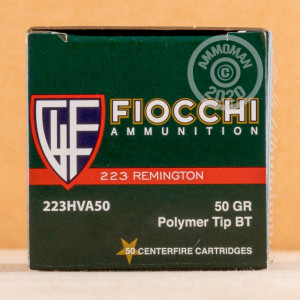 Photograph showing detail of .223 REMINGTON FIOCCHI EXTREMA V-MAX 50 GRAIN JHP (50 ROUNDS)