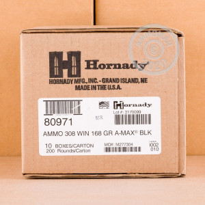Image of the 308 WIN HORNADY BLACK 168 GRAIN A-MAX (20 ROUNDS) available at AmmoMan.com.