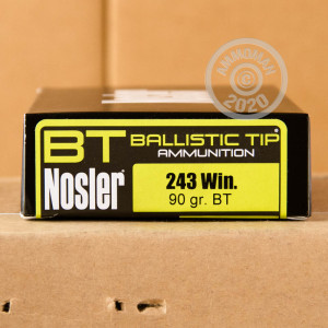 An image of 243 Winchester ammo made by Nosler Ammunition at AmmoMan.com.