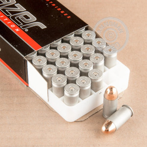 Image of .45 Automatic ammo by Blazer that's ideal for training at the range.