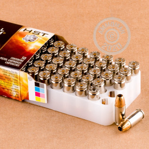 A photograph detailing the 9mm Luger ammo with JHP bullets made by Federal.