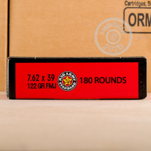 A photograph of 900 rounds of 122 grain 7.62 x 39 ammo with a FMJ bullet for sale.