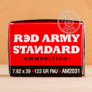 A photo of a box of Red Army Standard ammo in 7.62 x 39.