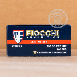 Photo of .45 Automatic JHP ammo by Fiocchi for sale at AmmoMan.com.