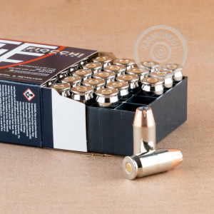 A photograph of 25 rounds of 230 grain .45 Automatic ammo with a JHP bullet for sale.