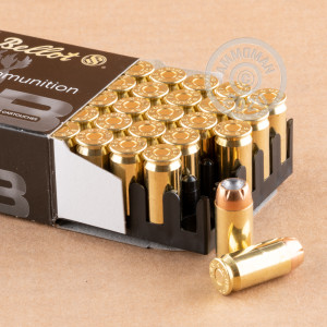 A photograph detailing the .45 Automatic ammo with JHP bullets made by Sellier & Bellot.