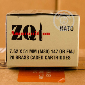 A photo of a box of ZQI Ammunition ammo in 308 / 7.62x51 that's often used for training at the range.