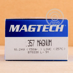Photo of 357 Magnum Lead Semi-Wadcutter (LSWC) ammo by Magtech for sale at AmmoMan.com.