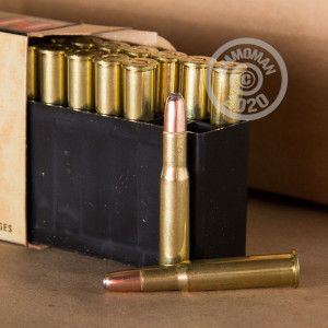 A photograph of 20 rounds of 150 grain 30-30 Winchester ammo with a Round Nose Soft Point (RNSP) bullet for sale.