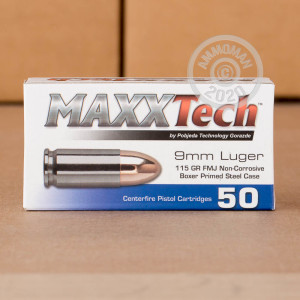 Image of MaxxTech 9mm Luger pistol ammunition.