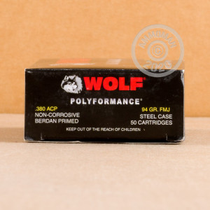 Image of .380 Auto ammo by Wolf that's ideal for training at the range.