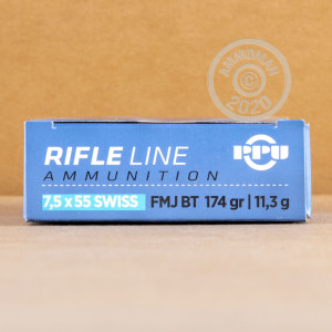 Photo of 7.5 X 55 FMJ-BT ammo by Prvi Partizan for sale.