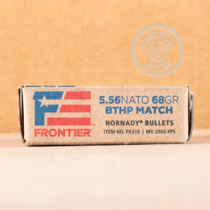 Photo detailing the 5.56X45 HORNADY FRONTIER 68 GRAIN BTHP MATCH (500 ROUNDS) for sale at AmmoMan.com.
