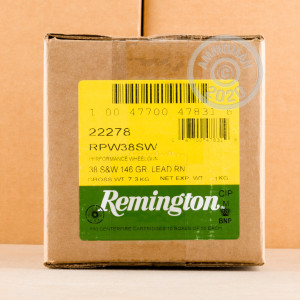 Image of .38 S/W ammo by Remington that's ideal for training at the range.