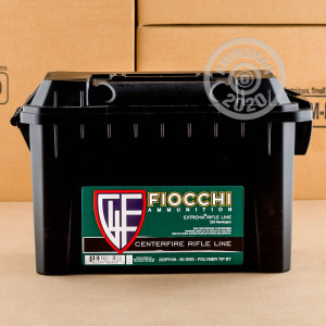 Photo detailing the 223 REMINGTON FIOCCHI IN PLANO AMMO CAN 50 GRAIN V-MAX POLYMER TIP (200 ROUNDS) for sale at AmmoMan.com.