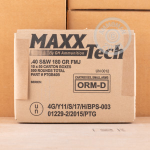 Photo of .40 Smith & Wesson FMJ ammo by MaxxTech for sale at AmmoMan.com.