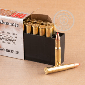 A photograph detailing the 30-30 Winchester ammo with flex tip technology bullets made by Hornady.