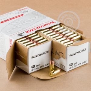 A photo of a box of Winchester ammo in .40 Smith & Wesson.