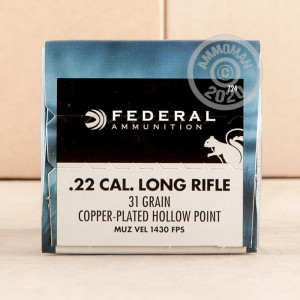 Photograph of .22 Long Rifle ammo with copper plated hollow point ideal for hunting varmint sized game.