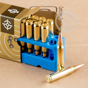 A photograph of 1000 rounds of 69 grain 223 Remington ammo with a Hollow-Point Boat Tail (HP-BT) bullet for sale.