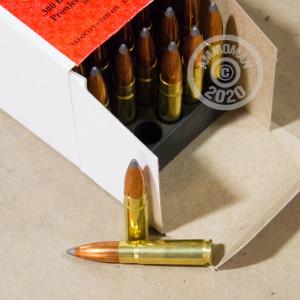 A photograph detailing the 300 AAC Blackout ammo with Spitzer Boat Tail bullets made by Jamison Ammunition.