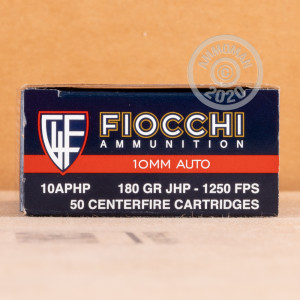 An image of 10mm ammo made by Fiocchi at AmmoMan.com.