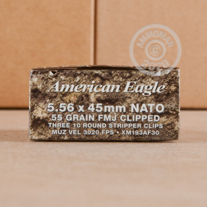 Photo detailing the 5.56 FEDERAL AMERICAN EAGLE 55 GRAIN FMJ (600 ROUNDS) for sale at AmmoMan.com.