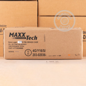 An image of 9mm Luger ammo made by MaxxTech at AmmoMan.com.