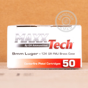 A photograph detailing the 9mm Luger ammo with FMJ bullets made by MaxxTech.