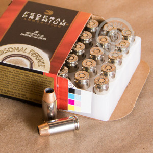 Image detailing the nickel-plated brass case and boxer primers on the Federal ammunition.