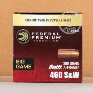 Image of Federal 460 Smith & Wesson pistol ammunition.