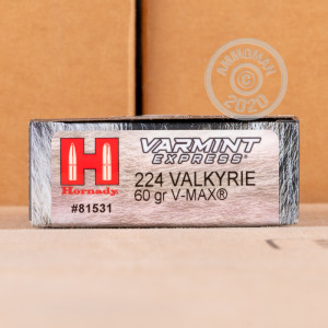 Photo detailing the 224 VALKYRIE HORNADY VARMINT EXPRESS 60 GRAIN V-MAX (200 ROUNDS) for sale at AmmoMan.com.