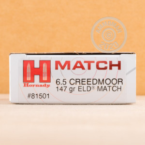 Photograph showing detail of 6.5 CREEDMOOR HORNADY 147 GRAIN ELD MATCH (20 ROUNDS)