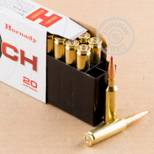Photo detailing the 6.5 CREEDMOOR HORNADY 147 GRAIN ELD MATCH (20 ROUNDS) for sale at AmmoMan.com.