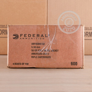 Image of the 5.56x45MM FEDERAL AMERICAN EAGLE 55 GRAIN FMJ (600 ROUNDS) available at AmmoMan.com.