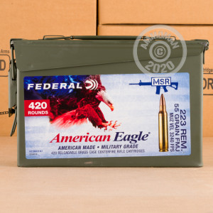 Image of the 223 REM FEDERAL AMERICAL EAGLE 55 GRAIN FMJBT (420 ROUNDS IN AMMO CAN) available at AmmoMan.com.