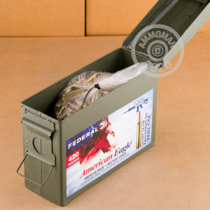 Photo detailing the 223 REM FEDERAL AMERICAL EAGLE 55 GRAIN FMJBT (420 ROUNDS IN AMMO CAN) for sale at AmmoMan.com.