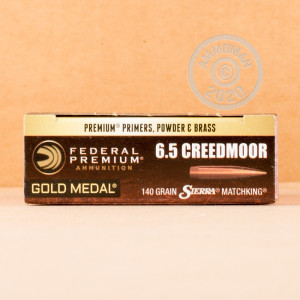 Photograph showing detail of 6.5 CREEDMOOR FEDERAL GOLD MEDAL 140 GRAIN MATCHKING HPBT (200 ROUNDS)