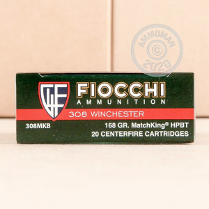 A photo of a box of Fiocchi ammo in 308 / 7.62x51.