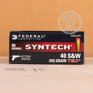 A photograph of 500 rounds of 205 Grain .40 Smith & Wesson ammo with a Polymer Coated FMJ bullet for sale.