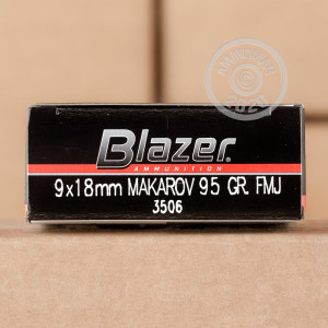 An image of 9x18 Makarov ammo made by Blazer at AmmoMan.com.