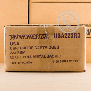 Photo detailing the 223 REM WINCHESTER USA 62 GRAIN FMJ (1000 ROUNDS) for sale at AmmoMan.com.