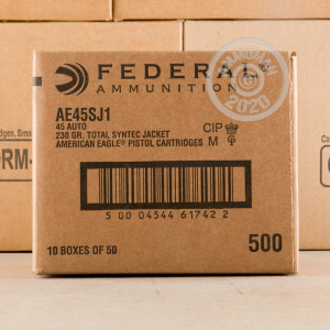 A photograph detailing the .45 Automatic ammo with Polymer Coated FMJ bullets made by Federal.