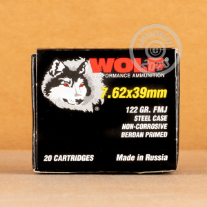 Image of 7.62 x 39 ammo by Wolf that's ideal for training at the range.
