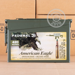 Image of the 5.56X45 FEDERAL AMERICAN EAGLE 62 GRAIN FMJBT XM855 (420 ROUNDS IN AMMO CAN) available at AmmoMan.com.