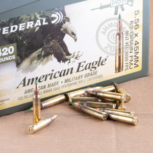 Image of 5.56X45 FEDERAL AMERICAN EAGLE 62 GRAIN FMJBT XM855 (420 ROUNDS IN AMMO CAN)