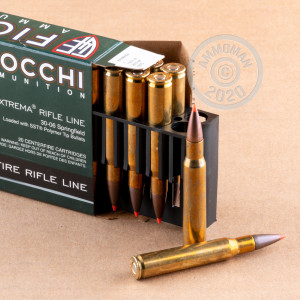A photograph detailing the 30.06 Springfield ammo with SST bullets made by Fiocchi.