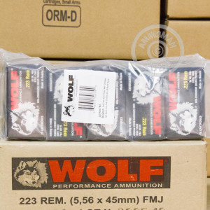 Photo detailing the .223 REMINGTON WOLF 55 GRAIN FULL METAL JACKET (1000 ROUNDS) for sale at AmmoMan.com.