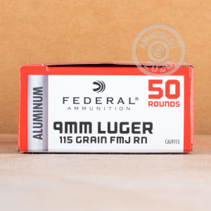 A photograph detailing the 9mm Luger ammo with FMJ bullets made by Federal.