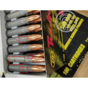 A photograph of 1000 rounds of 124 grain 7.62 x 39 ammo with a HP bullet for sale.